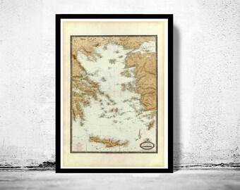 Old Map of Greek Islands Greece 1862