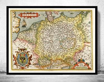 Vintage Map of Germany Germania Antique Deutshland 1595