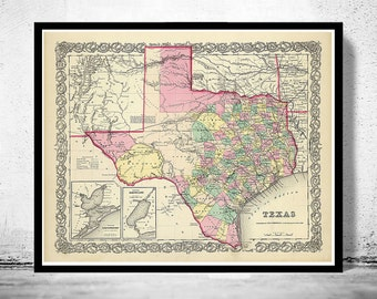 Old Map Texas 1856 United States of America
