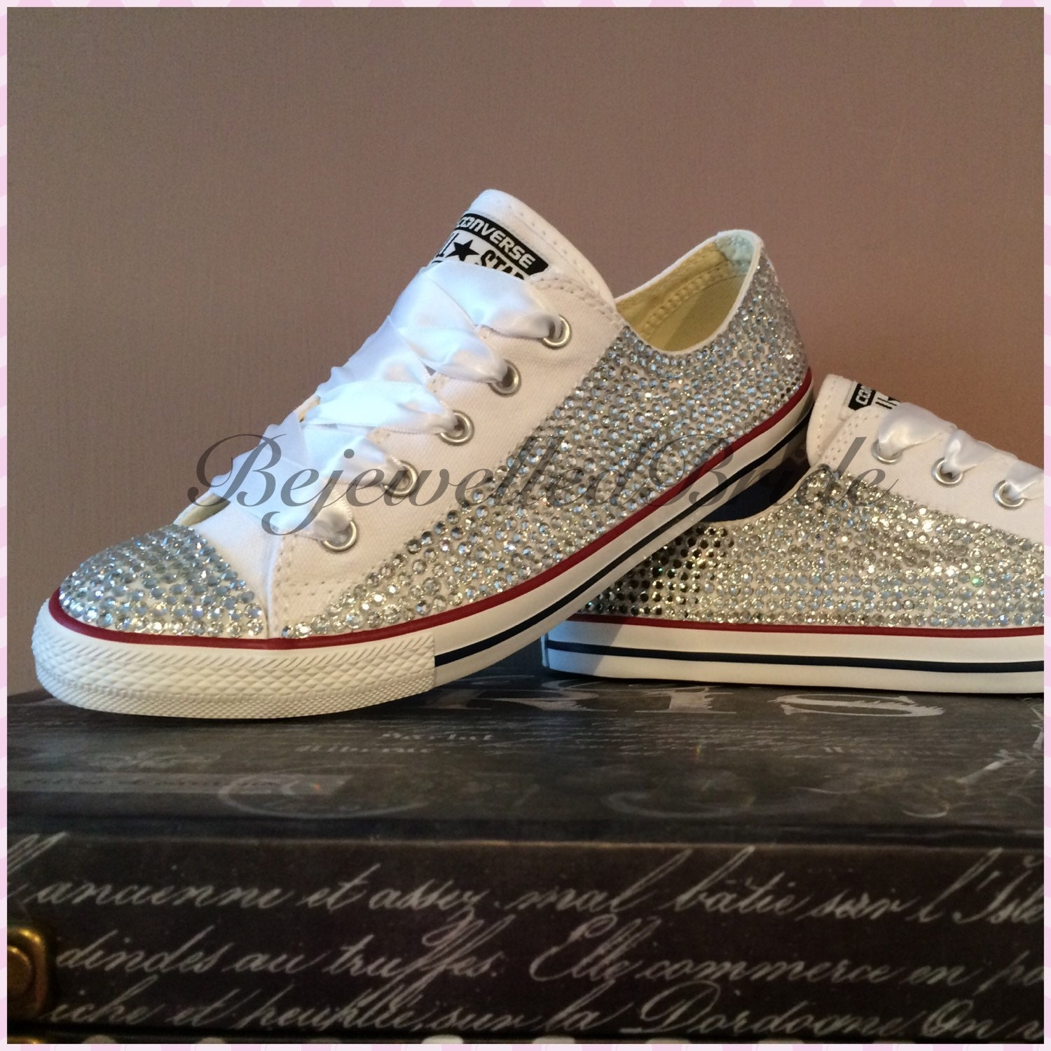 converse with some swarovski wedding by