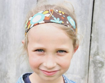 Girls Reversible Fabric Headband, Wide Headband, Elastic Headband, Hair Band, Cute Headband, Cotton Fabric, Brown and Blue Floral/Stripes