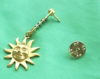 Vintage Ballou  Sun Safety Pin Beaded Lapel Pin Tie Tack