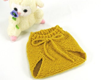 Baby Alpaca, 0-3 Months Soaker Pants, Diaper Cover, Golden Yellow, Seamless Hand Knit, Vintage Inspired - READY TO SHIP