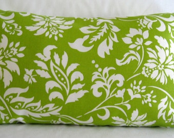 Lumbar Pillow Cover, 12x20 Pillow Cover,  Green and White Pillow Cover, Invisible zipper closure pillow cover