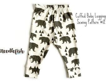 BABY LEGGINGS w/ CUFFS Sewing Pattern - Cuffed Baby Leggings Sewing Pattern - Baby Pants Sewing Pattern - Sizes 0 - 24 mo