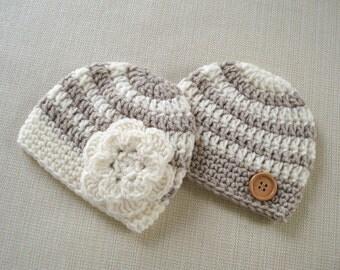 Twin boy and girl hats set Newborn twin hats Baby twin photo prop hats Newborn boy girl twins hat Crochet newborn hat twins baby gift Outfit