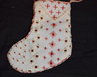Red Hardanger and Sparkle Christmas Ornament Stocking
