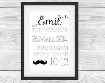 "Birth announcement personalized ""Star"""