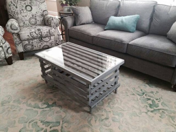 Handmade Wooden Lobster Trap Coffee Table Weathered
