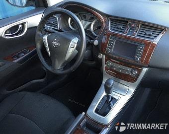 Nissan Sentra 2013 2014 2015 2016 2017 With Navigation System Manual A/C Interior Set Wood Dashboard Dash Kit Trim 26 Parts