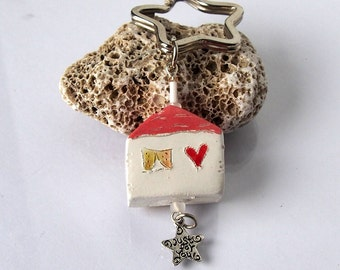 Key Chain Little clay house accessory Ceramic miniature hause keychain Just for you