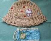 "Hello Kitty Straw Hat and Purse, Crochet Bow Hat, Little Girls Hat, Girls Hat, Straw Hat, Girls Straw Hat, 18"" hat, Girls Sun Hat Summer Hat"