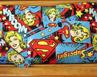 Super Girl Wristlet Clutch Purse - Blue Red Superhero Teens  - Small Coraline by Swoon - Ready to ship