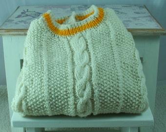 Hand Knitted Cream Woollen Jersey