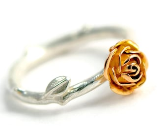 18 carats red gold rose ring, rose stem jewellery, red rose ring, silver and ecogold ring red gold rose, engagement ring, wedding ring.