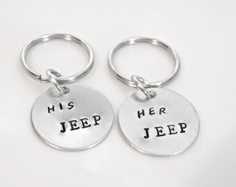 Her JEEP, His JEEP or, My JEEP Stamped Customize Keychain, Jeep lovers unite!