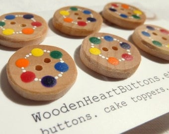 """3/4"""" Small Wood Buttons, Wooden Kids Buttons, Handmade Rainbow Buttons, Childrens Buttons 6pce  20mm or 3/4"""""""