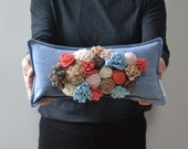 Felt flower pillow with roses, jean accent pillow with rosettes on indigo, featuring coral, robin's egg blue and chocolate