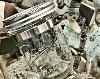 Natural Bike Chain Mason Jar Handle