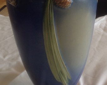 Roseville pottery blue pine cone vase