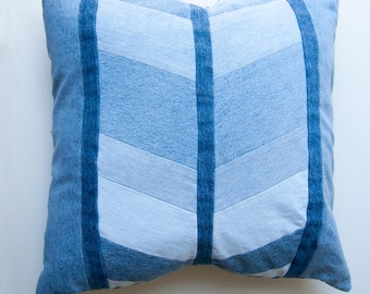 Broadway Pillowcase-Denim Pillow Cover-Chevron-Patchwork Denim-Upcycled Denim-Throw Pillow Covers-Decorative Pillows-Patchwork Pillow