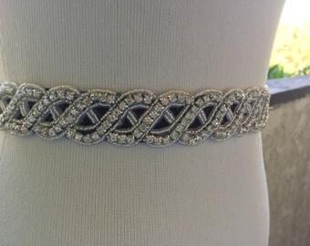 Silver Wedding Belt Sash,Bridal Sash,Best seller sash ,Rhinestone Crystal Sash,Beaded sash,Silver Sash On Black Ribbon