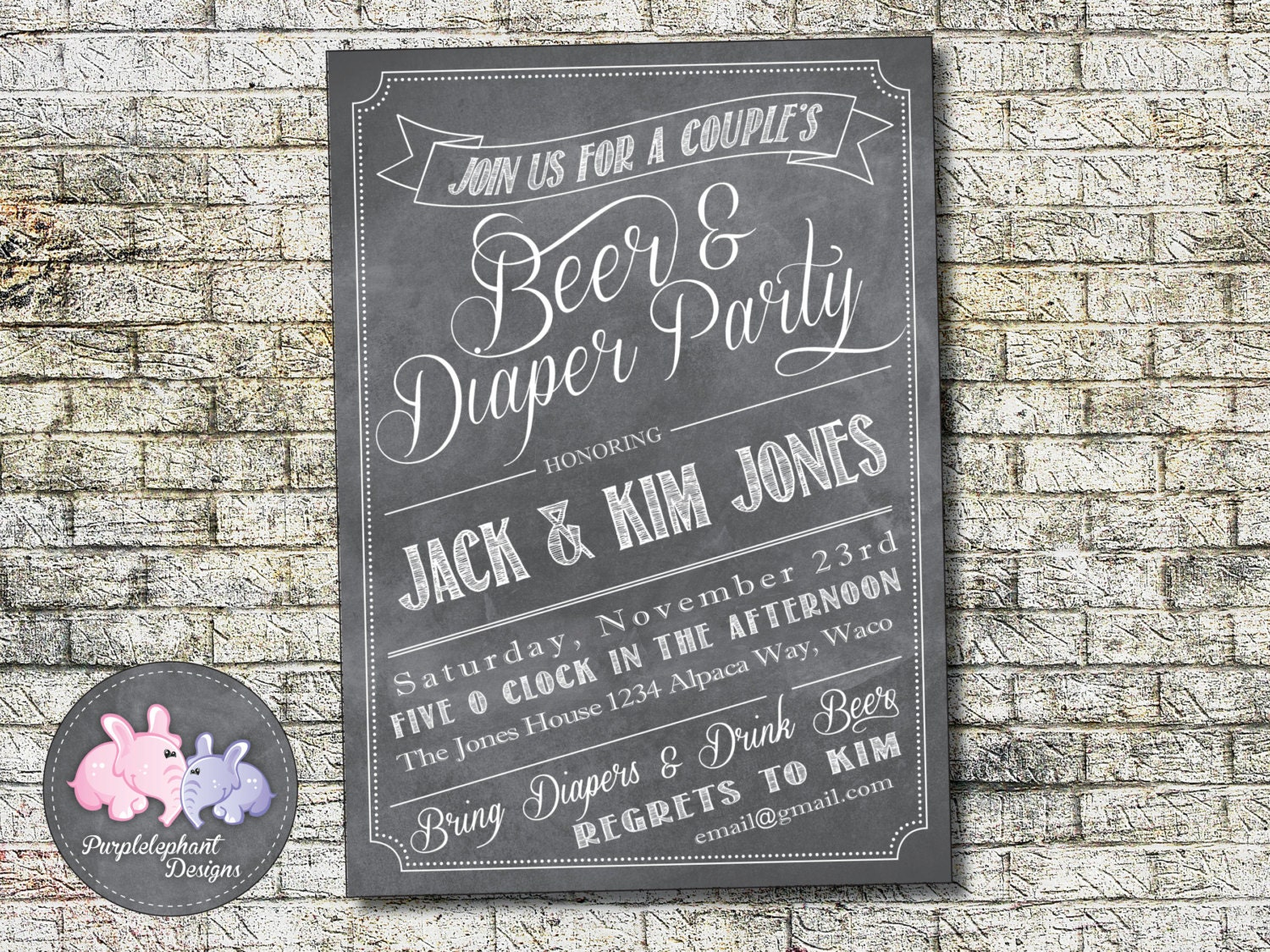 happy hour invite beer and diaper party invitation baby shower invitation couples shower invitation chalkboard happy hour baby shower 5x7 custom printable
