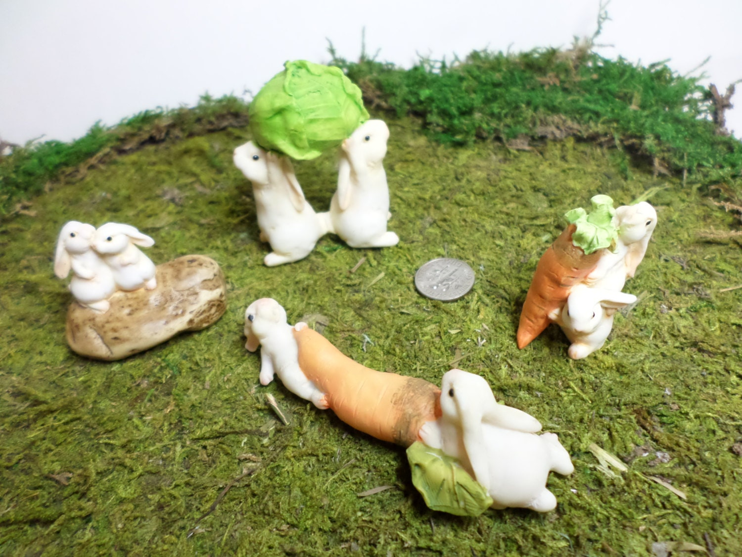 Miniature garden bunny figurine fairy garden by wawasgarden for Fairy garden figurines