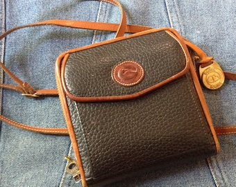 Vintage Dooney and Bourke Zipalong Wallet--Vintage Dooney and Bourke Bage--1990s Dooney and Bourke Purse--Crossbody Bag--All Weather Leather