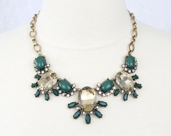 Green Statement Necklace Crystal Bib Necklace Rhinestone Flower Necklace