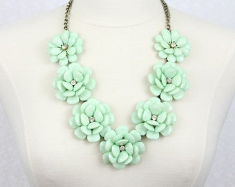 Beaded Rose Necklace Rosette Necklace Chunky Flower Statement Necklace Mint Green Floral Necklace