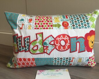 Animal pillow case, Personalized with name, Alphabet soup fabric, 12x18 inches