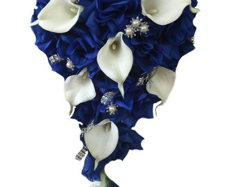 Cascade Bouquet - Royal Blue Roses and Real Touch Calla Lily with Silver Accents