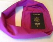 Passport Holder, gift for her, zipper pocket infinity scarf, hidden pocket infinity scarf, small camera holder, ID holder