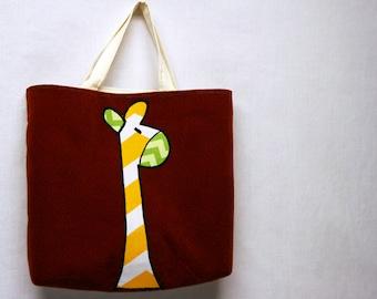 Childrens Book Bag Child Tote Bag Preschool Tote Bag Kindergarten Bag Children Library Bag Lined Tote Bag Market Bag Animal Bag Applique Bag
