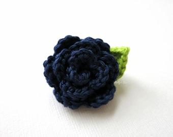 Crochet Rose Mens Lapel Flower - Wedding Boutonniere - Crochet Lapel Pin - Buttonhole - Navy Blue