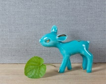 super cute French vintage porcelain fawn figurine, turquoise and gold fawn statue, retro home decor, children's room decor