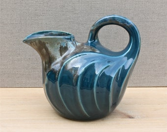 rare Denbac France ceramic pitcher, art nouveau, 1920's home decor, teal blue