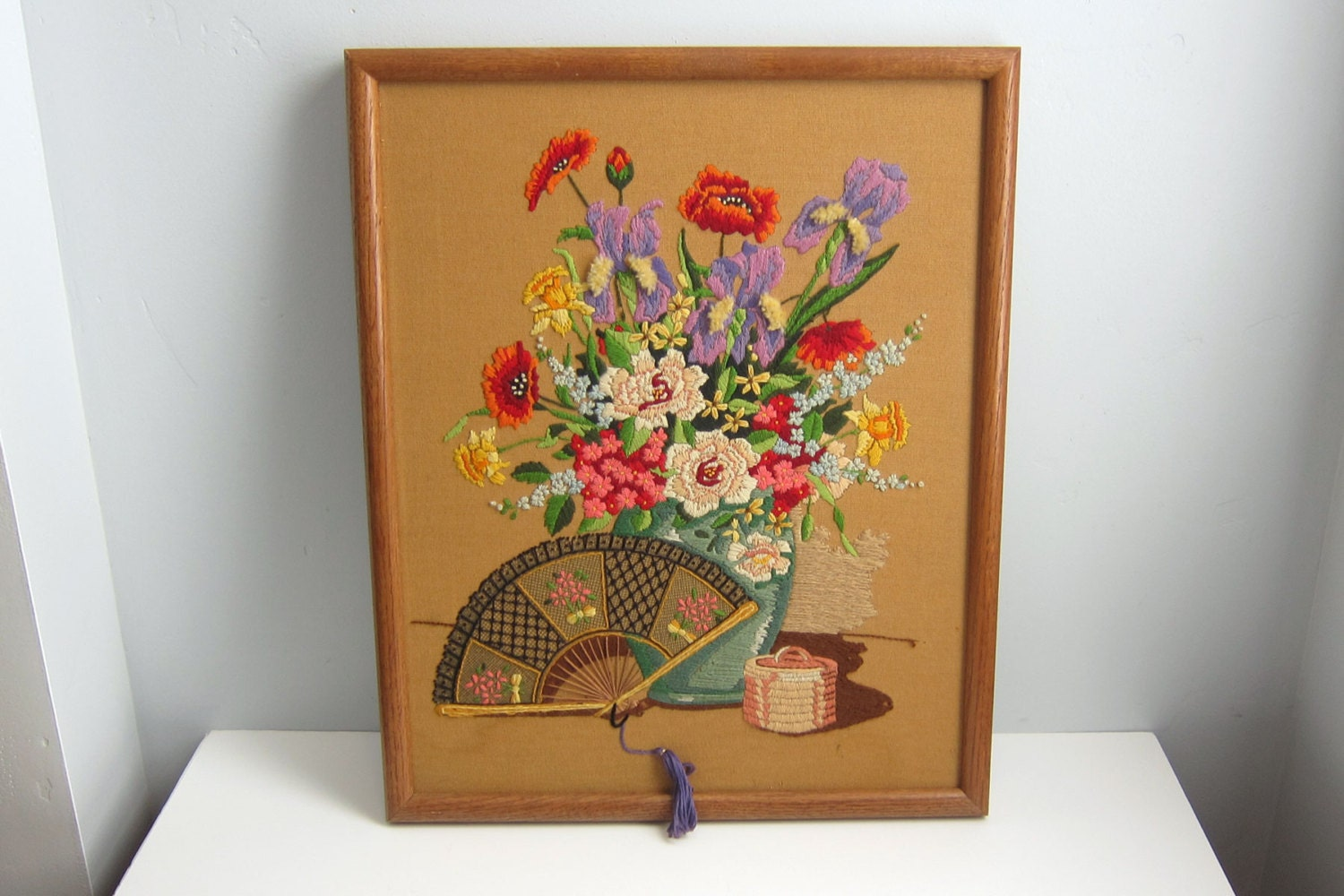 Vintage Wood Framed Crewel Embroidery Flowers And Fan With