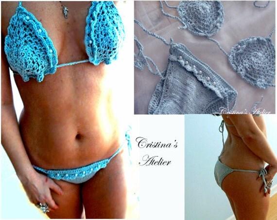Mermaid knitted crochet bikini- Sexy blue embelished swimwear- Boho women pearls bikini- Knited swimsuit-Brazilian, bridal resort bikini set