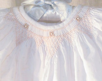 Smocked Girls Heirloom Bishop Dress Wedding Flower girl Portrait Easter Birthday size 2, 3, 4, 5, 6 years