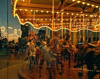 Print, Jane's Carousel, Brooklyn Bridge Park, New York City, USA.