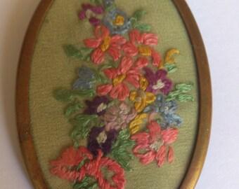 vintage embroidered flower brooch