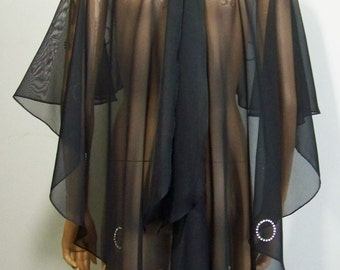 Asymmetric Cape, Black ,Chiffon, Diamonte imitation of diamond, Gothic,Victorian, Lolita,Steampunk, Lolita.  FOR YOU