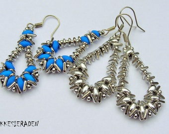 English pattern for Tri bead earrings