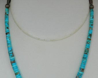 """Native American Navajo Old Pawn Graduated Turquoise Heishi Sterling Necklace 21"""""""