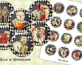 12 Alice in Wonderland CIRCLES 2 inch instant download printable images digital collage sheet
