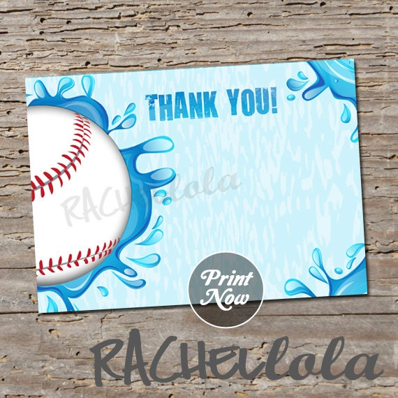 Baseball Pool Party Thank You Notes Printable Card End Of Season - 4x6 thank you card template