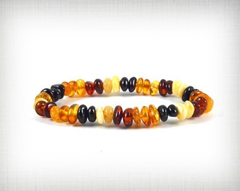 Natural Baltic Amber Baby Child Teething Bracelet Multi color Beads