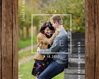 Rustic Framed Photo Save the Dates - Custom